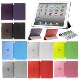 Wholesale Ipad Slim Magnetic Case - Ultra Slim Magnetic Smart Cover Clear Matte back case for iPad air 2 Ipad 2 3 4 Mini 1 2 3 Retina 4