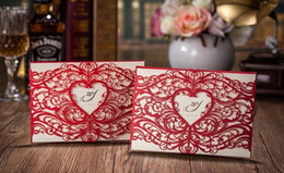 Wholesale Shaped Invitations - Laser Cut Heart shaped Wedding Invitations cards Hollow folded Invitations Card For wedding Party Supply wa3910