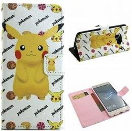 Wholesale Huawei Phone Cartoon Case - Pikachu Cartoon Leather Wallet Pouch For Samsung Galaxy S7 Edge Huawei P9 Poke Go Pocket Monsters Stand Cards TPU Soft Phone Skin Cover