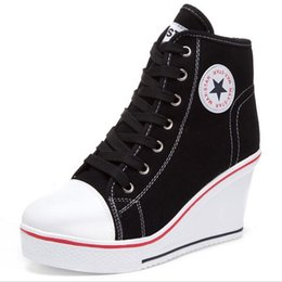 Wholesale Thick Sole Casual Black Shoes - 2016 Women Sport Casual shoes Woman Platform Wedges High Top Thick Soled Elevator Canvas Shoe Star Loafers mujer