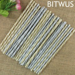 Wholesale Strip Party Straws - 100 pcs lot 23 cm Fancy Fashion Reusable Sliver Golden Stripped Party Plastic Drinking Straws  Pure Color Straws for Marson Jar