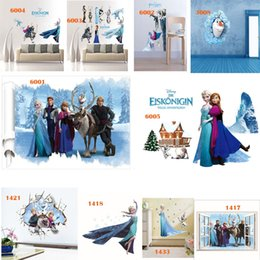 Wholesale Decorative Wall Decals Removable - DHL Free Shipping Mix Order Removable Elsa Frozen Wall Stickers Olaf Decoration Princess Decorative Wall Decall for Kids Rooms