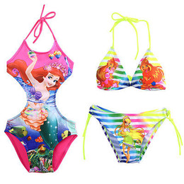 Wholesale Cute Tankini Swimsuits - Wholesale- New Cartoon Cute Infant Baby Girls Swimwear Summer Kids Backless Swimsuit Costume Tankini Bathing Suit