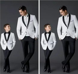 Wholesale Navy Boys Suit - Custom Made 2018 New Fashion Groom Tuxedos Men's Wedding Dress Prom Suits Father And Boy Tuxedos (Jacket+Pants+Bow) Formal Wear Tuxedos