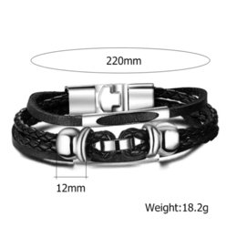 Wholesale European Cuff Bracelet - European style men bracelets&bangles stainless steel bracelet leather bangle for men jewelry hot sale Cheap bangle cuff