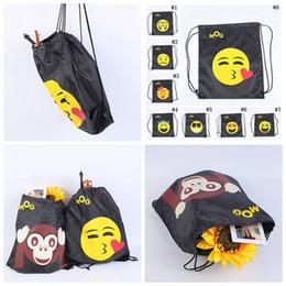 Wholesale 12 Drawstring Backpacks - Emoji Emoticon Drawstring Backpacks 40*35cm 3D Print Black Sackpack Sport Drawstring Storage Bags 12 Styles 300pcs OOA3378
