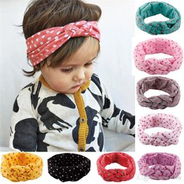Wholesale Kids Headbands Made - 10 Colors Baby Girls Polka Dot Braided Headbands Infant Kids Hand Made Elastic Cotton Hairbands Children turban Knot Hair Oranment KHA386