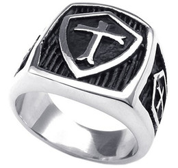 Wholesale Mens Black Cross Ring - Mens Stainless Steel Ring Vintage Shield Cross Silver Black US size 7 to 15 Drop Shipping