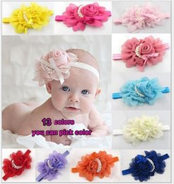 Wholesale Wholesale Vintage Hair Flowers - Hot ! Baby Girls Kids Lovely Roses Pearls Hair Bands Vintage Flowers Hair Accessories Pretty Headbands Infant Headbands 13 Color