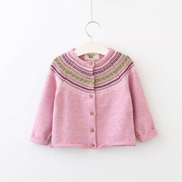 Wholesale Baby Clothes Wholesale Sweaters - 2017 Autumn New Baby Girl Cardigan Retro Style long Sleeve Knitted Cotton Sweater Children Clothes E316580