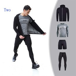 Wholesale green men s fitted suit - Men's fitness kit new zipper jacket four-piece sports suit tight-fitting long-sleeved fast drying breathable outdoor running sportswear