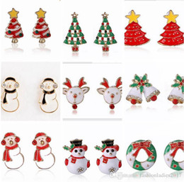 Wholesale Christmas Trees For Cheap - New 13styles Women Santa Claus Snowman lovely Tree Bell Christmas Jewelry Christmas Earring For Women cheap XMAS Gifts E043