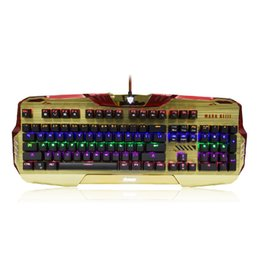 Wholesale Led Backlit Computer - 2016 E-3lue computer game EKM740 Molding Mechanical Feel Gaming Keyboard Golden green axis LED Multicolor Backlit Keyboard USB Wired for PC