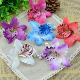 Wholesale Cheap Wholesale Orchids - 30pcs lot 7cm Cheap Artificial Orchid Flower Heads Silk Flowers For Wedding Party Banquet Decorative Scrapbooking Fake Flowers