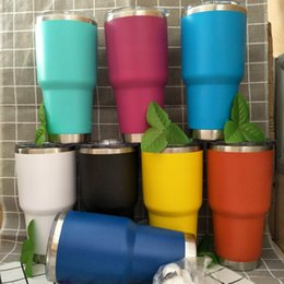 Wholesale Double Wall Color - 30oz Tumbler Colder Plated Mug Insulated Stainless Steel 30oz Car Mugs Ice Keep Cold Double Wall Vacuum Tumbler Cup 8 Color DHL