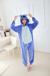 Wholesale Woman S Christmas Pajamas - Wholesale-Blue Pink Stitch Onesies Adult Pajamas Cosplay Costume Women Men Sleepsuit Sleepwear Jumpsuit Halloween Christmas Party Clothing