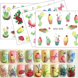 Wholesale Nails Art Ice Cream - 1pcs Nail Sticker Water Tattoos Summer Ice Cream Drink Fruit Flower Butterfly DIY Decals for Nail Art Cool Decor STZ470-473