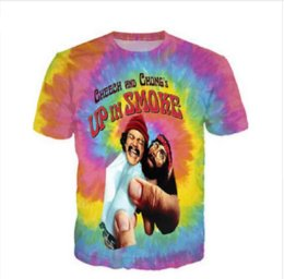 Wholesale Funny Tie - New Greative Cheech and Chong UP IN SMOKE Tie-dye Funny printed 3d womens mens t shirt crewneck t shirt short sleeve shirts XTX0013