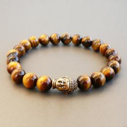Wholesale Tigers Eye Buddha - Tiger Eye Buddha Bracelet Yoga Meditation Jewelry Gemstone Bracelet Natural Stone Stretch Bracelet Mala Tiger Eye Bracelet