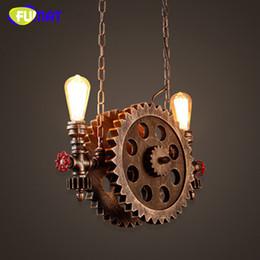 Lampes à pipe vintage en Ligne-FUMAT Pendentif Lumière Vintage Pipe En Fer Pendentif Lampes Bar Loft Industriel Suspension En Bois Engrenage Luminaire Pour Restaurant