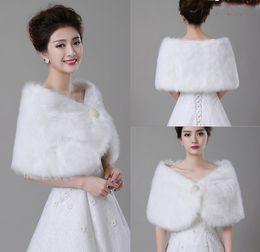 Wholesale Cheap White Fur Coats - Cheap Bolero White Wedding Accessories High Quality Faux Fur Wedding Bolero Wedding Jackets Winter Warm Coats Bride Wedding Coat
