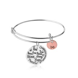 "Wholesale Expandable Bangle Bracelets - Hot sell Charm Bangles ""Be"" Graffiti Friend Brave Happy Strong Thankful Bracelets Expandable Wire Bracelets free shipping"