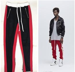 Wholesale Vintage Spandex Pants - Mens Casual Pants Sports Wear Clothing for Man FOG GD Zipper Stripes Vintage Trousers Long Pants Loose Elastic Waist