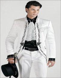 Wholesale Korean Tuxedo Jackets - White Satin Korean Style Suit With Black Embroidery Groom Tuxedos Groomsman Suit Custom Made Man Suit (jacket+pants)