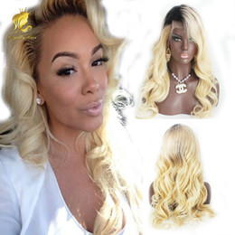 Wholesale Blonde Wavy Wig Human Hair - Ombre T1B 613 Blonde Full Lace Human Hair wigs wavy Brazilian Virgin Hair 130% Density Natural Hairline Bleached Knots Lace Front Wigs