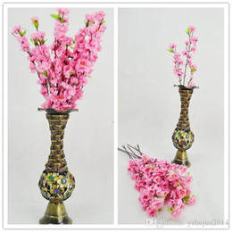 Wholesale Free Christmas Door Decorations - Wholesale-500Pcs lot Romantic Artificial Branches Of Peach Cherry Blossom Silk Flowers Home Wedding Decoration Flower Free shipping