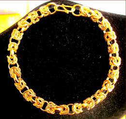 Wholesale Mens Real Gold Bracelets - Wholesale - free shipping real fine HEAVY 44G HYPOTENUSE NUGGET BRACELET 24KT YELLOW GOLD HGE 230mm MENS NEW