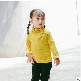 Wholesale Cotton Thicken Shirt - Toddler kids bottoming shirts baby girls ruffle high collar Bows blouses infants velvet Thickening long sleeve Shirt baby cute clothes C1433