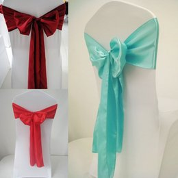 Wholesale Chair Bow Grey - 2018 Newest Fashionable Bow Chair Sash Size 17*275CM Satin Wedding Chair Sash For Western Wedding Party