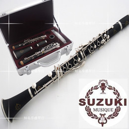 Wholesale Bakelite Key - Wholesale-New SUZUKI Clarinet Professional 17 Key B Klarinet Bakelite Nickel Plated Klarnet Musical Instrument Accessories
