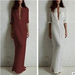 Wholesale Ladies Dress Shirts - Good quality summer Women Fashion Dresses Linen Cotton Casual Long Split Maxi Wrap shirt Dress Ladies Vestidos Wine red white black D89