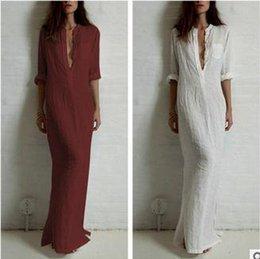 Wholesale Vintage Ankle Length White Dress - Good quality summer Women Fashion Dresses Linen Cotton Casual Long Split Maxi Wrap shirt Dress Ladies Vestidos Wine red white black D89