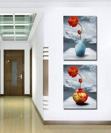 Wholesale Contemporary Paintings Canvas - Contemporary Beautiful Flower Paintings Giclee Print On Canvas Wall Art Home Decor Set20149