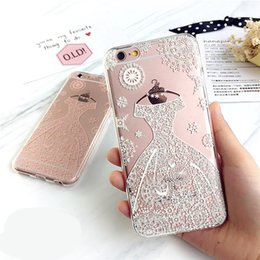 Wholesale Pink Lace Iphone Case - for iPhone 7 Case Clear Cute Lace Dress Crystal TPU Soft Cover for iPhone 7 Plus 6 6s Plus relief Flower Protective Cases