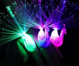 Wholesale Peacock Lamps - Creative Peacock LED Finger Ring Lights Beams Party Nightclub Color Rings Optical Fiber Lamp Kids Children Halloween Gifts