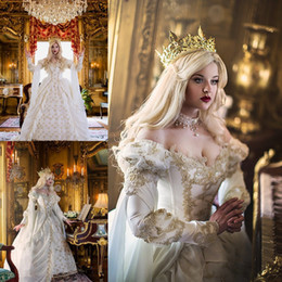 Wholesale Fairy Wedding Dress Up - Vintage Medieval Celtic Wedding Dress 2016 Custom Made Off The Shoulder Castle Church Gold Applique New Empire Fairy Bridal Gown Hot Sale