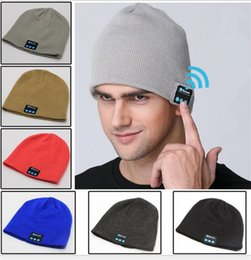 Wholesale Bluetooth Earphone Bag - Wireless Bluetooth Hat Music Beanie Cap Headset Headphone Soft Warm earphone Speaker Microphone Handsfree OPP Bag Package Chirstmas gift DHL