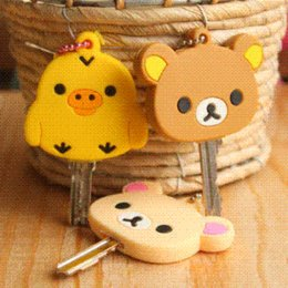 Wholesale Animal Key Cover Cap - Free shipping 5pcs lots!!! Lovely Kawaii Animal Silicon Key Caps Covers Keys Keychain Case Shell Novelty Item