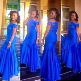 Wholesale Cheap Online Orange Dress - Off Shoulder Royal Blue Lace Mermaid Bridesmaids Dresses Sweep Train Pleated 2017 Slim Formal Evening Dresses Cheap Online Custom Online