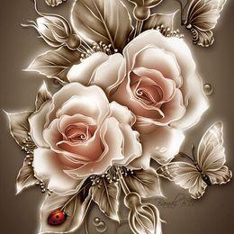 Wholesale Single Rose Decoration - Modern Decorative Diamond Painting Golden Rose Flower Resin Stone Embroidery DIY 3D Full Diamond for Wedding Decoration
