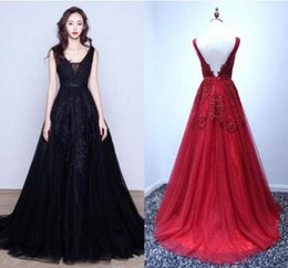 Wholesale Tulle Dresses Only - Only $69 Cheap In Stock Red Black Burgundy Evening Dresses A Line Deep V Neck Sheer Lace Appliqued Sexy Backless Prom Dresses CPS304