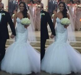 Wholesale Garden Wedding Satin Sweetheart - 2016 Elegent Mermaid Wedding Dresses Sweetheart Lace Appliques Crystal Beaded Sweep Train Tulle Button Back Plus Size Formal Bridal Dress