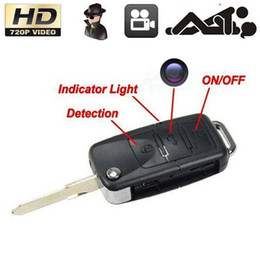 Wholesale Micro Dvr Key - 5pcs lot HD 720P Car KeyChain Camera Mini Spy Car Key Cam Hidden Cameras Micro DV DVR Mini Video Recorder Portable Camcorders