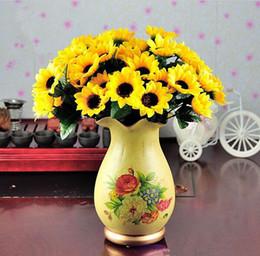materiais de grinalda por atacado Desconto 14 cabeça falsa simulação girassol artificial buquê de flores de seda para casa casamento decoração floral dia dos namorados frete grátis hjia207