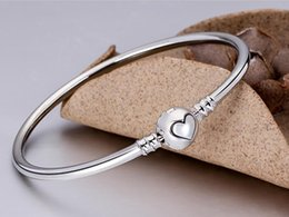Wholesale Silver Bead Chains 925 - New Arrival Charm Bangle 925 Sterling Silver Bracelet Fit Pandora European Charms Beads Fashion DIY Jewelry Wholesale heart love bangle