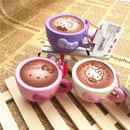 Wholesale Universal Coffee - New Cute Hello Kitty Coffee Cup Squishy Soft Sweet Pink Kawaii Cat Bread Cartoon Collectibles Toy Ballchain with Tag